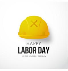 Happy labor day banner yellow worker helmet vector