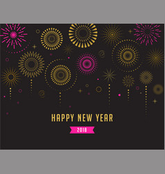 happy new year fireworks and celebration poster vector image
