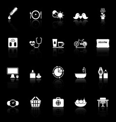 Health behavior icons with reflect on black vector image
