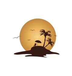 Islands summer holiday of silhouette vector image