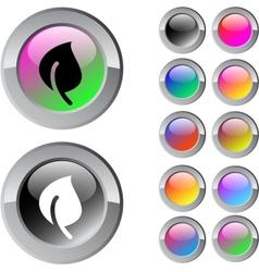 Leaf multicolor round button vector image