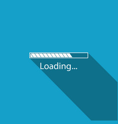 loading icon with long shadow progress bar icon vector image