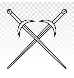 Longsword crossed long sword line art icon vector