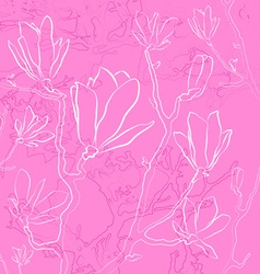 Magnolia Flowers on a Pink Background vector
