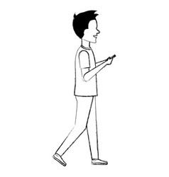man chatting with smartphone vector image