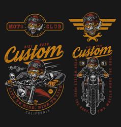 Motorcycle colorful vintage logos vector