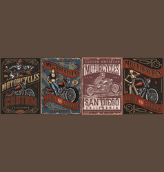 motorcycle vintage posters vector image