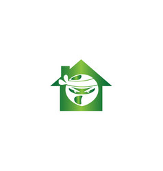 ninja head with angry face design in a home shape vector image