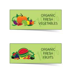 Organic fresh food card set vector