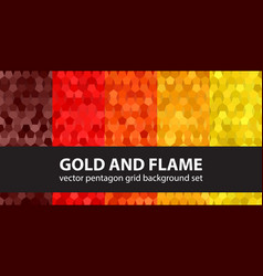 Pentagon pattern set gold and flame seamless vector
