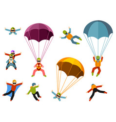 people are engaged in extreme parachuting vector image