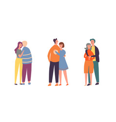 people couple character hug set family lover pair vector image