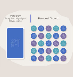 Personal growth social media story and highlight vector