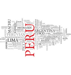 Peru word cloud concept vector