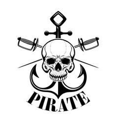 pirates emblem template with swords and pirate vector image