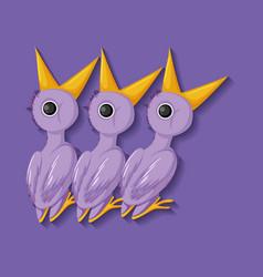 Purple chick cartoon character vector