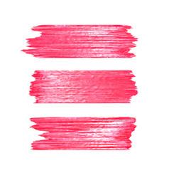 Red glitter brushstrokes set isolated at white vector
