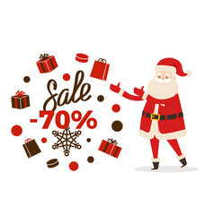 Sale poster up to 70 price reduction santa icon vector