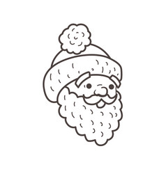 santa head beard and cap coloring page vector image