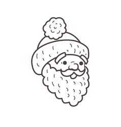 santa head beard and cap coloring page vector image