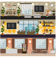 School interior flat poster set vector