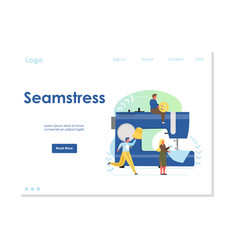 seamstress website landing page design vector image