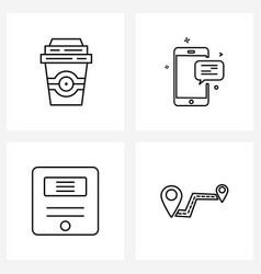 Set 4 simple line icons coffee management vector