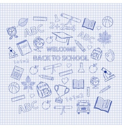 Set Back to school on the notebook sheet vector image