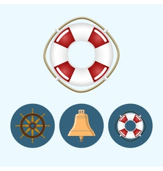 Set icons with colored bell lifebuoy ship wheel vector image