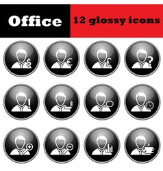 Set of business people glossy icons vector image