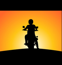 Silhouette motorcyclists on nature at sunset vector