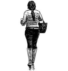 Sketch casual young woman in boots with bag vector