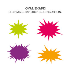 Starburst speech bubble set oval shape vector