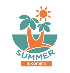 summer is coming logo icon isolated on white vector image