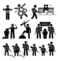 terrorist terrorism suicide bomber stick figure vector image