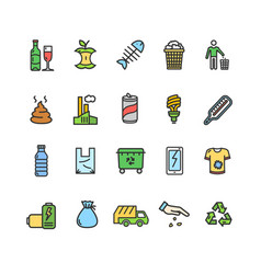 Trash signs color thin line icon set vector