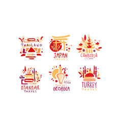 Travel to different countries labels and vector
