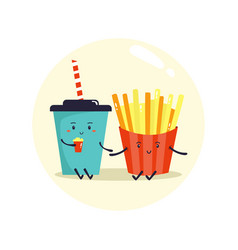 Two friends soda and french fries fast food vector