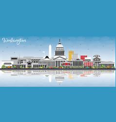Washington dc usa city skyline with gray vector