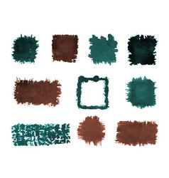 watercolor square and rectangle rough shapes set vector image