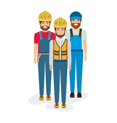 white background with group of builders workers vector image