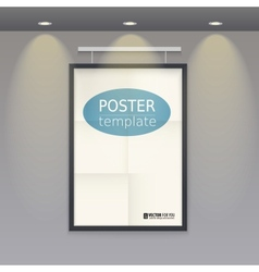 White poster template with frame on a rope vector image
