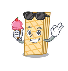with ice cream waffle character cartoon style vector image