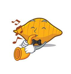 With trumpet conchiglie pasta mascot cartoon vector