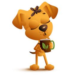 yellow funny dog holds mug and drinks black hot vector image