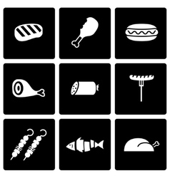 black meat icon set vector image vector image