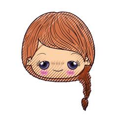 Colored crayon silhouette of kawaii head cute vector