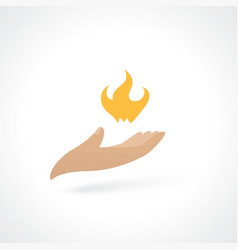 fire in hand vector image