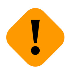 Orange rhomb exclamation mark icon warning sign vector
