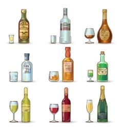 Alcohol Bottles Decorative Icons Set vector image